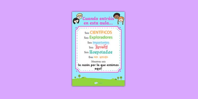 Cuando entráis en esta aula When You Enter This Class Poster Spanish - spanish, when you enter this class, poster, display poster, poster for display, classroom display, classroom poster, theme poster