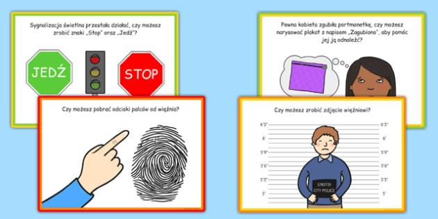 Karty z wyzwaniami Posterunek Policji po polsku - policja