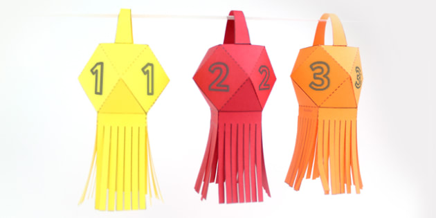 Paper Square Diwali Lantern Numbers - celebrations, crafts, DT