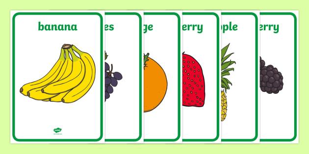 Fruit Display Posters - Fruit posters, fruit, display, poster, posters, fruit words, word mat, Foundation stage, apple, orange, satsuma, pear, banana, tangerine, pineapple, grapes