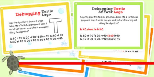 ICT Challenge Cards Debugging Turtle Logo - ICT, Turtle, Logo