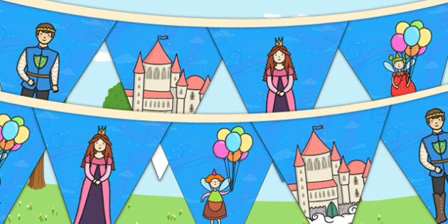 Fairytale Themed Birthday Party Picture Bunting - birthday, party