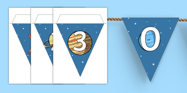 Number 0-30 on Space Themed Display Bunting - numbers, 0-30, space, display bunting, display, bunting