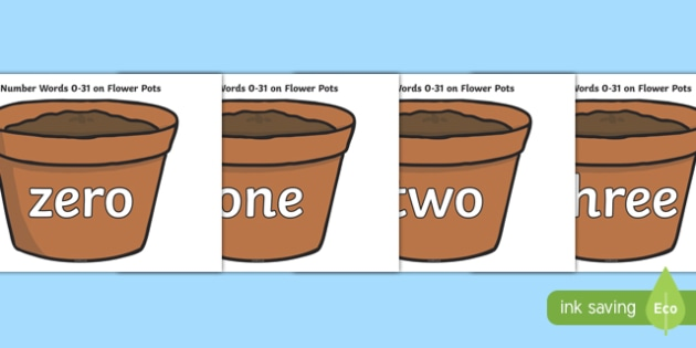 Number Words 0-31 on Flower Pots - number words, 0-31, flower pots, flower, pot, number, words, maths, mathematics