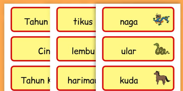 Chinese New Year Topic Word Cards - chinese new year, word cards - Indonesian