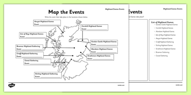 Highland Games Events Map - CfE, Highland, Scotland, games, sports, heritage, culture