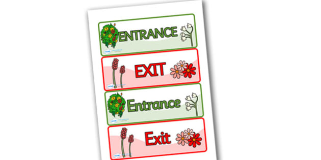 Role Play Entrance & Exit Signs - Entrance, Exit, Role Play, topic, activity, entry