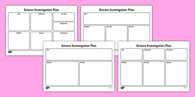 Science Investigation Writing Frame Planners Scientific