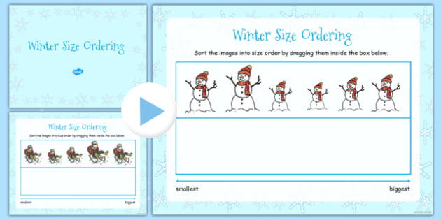 Winter Size Ordering Activity IWB - winter, ordering, size, xmas