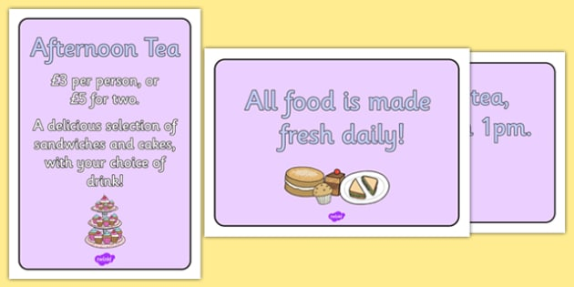 Royal Afternoon Tea Role Play Signs - royal, afternoon tea, role play, signs