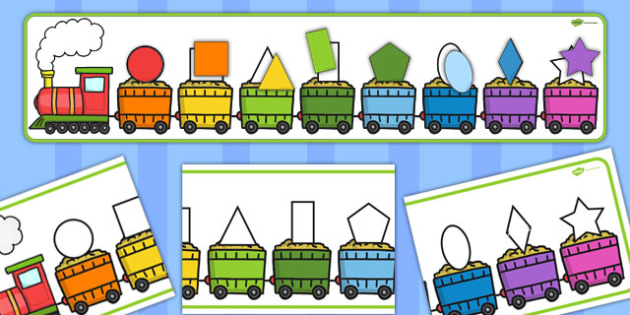 2D Shape Train Matching Puzzle - puzzles, match, activity, shapes