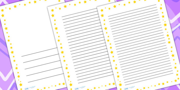 Yellow Star Border - writing templates, writing border, write