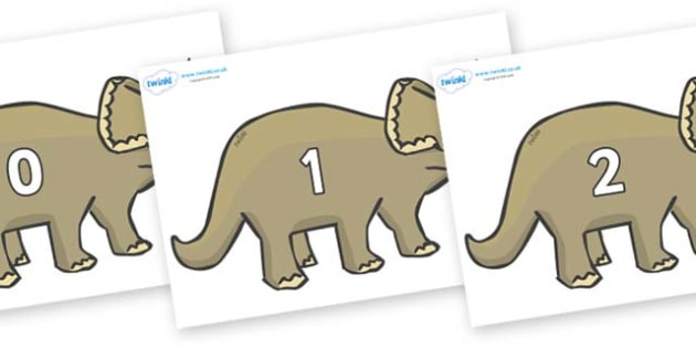 Numbers 0-50 on Triceratops - 0-50, foundation stage numeracy, Number recognition, Number flashcards, counting, number frieze, Display numbers, number posters