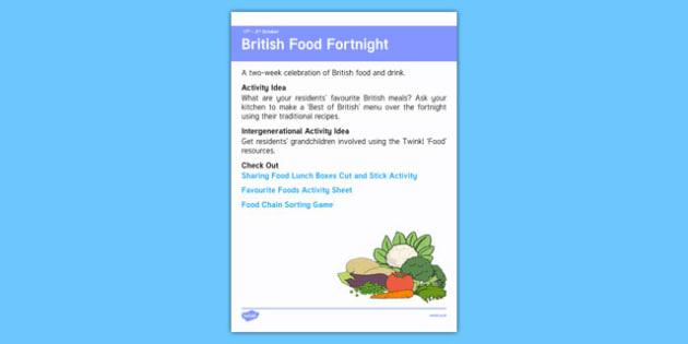 Elderly Care Calendar Planning September 2016 British Food Fortnight - Elderly Care, Calendar Planning, Care Homes, Activity Co-ordinators, Support, September 2016