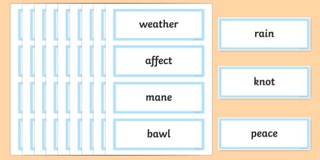 Years 3 and 4 Homophones and Near Homophones Match-Up Word Cards