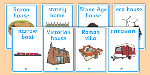 Homes Through the Ages Display Posters - house, home, building, Display Posters, A4, display, posters, brick, stone, saxon, roman, iron age, mud hut