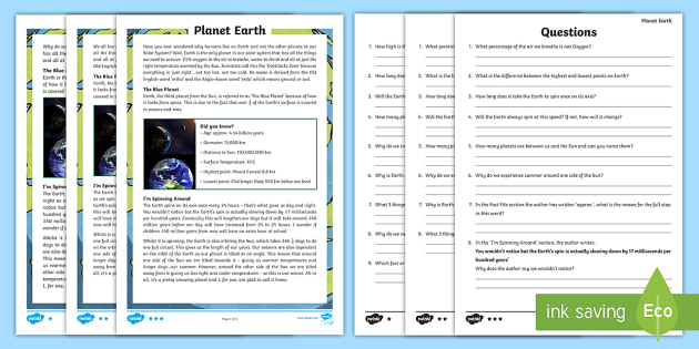 Year 5 Planet Earth Differentiated Reading Comprehension Activity - oxygen, air, water, orbit, year, summer, winter, leap year, spin, axis, tilt, diameter