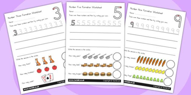 Number Formation Worksheets - number formation, motor skills, overwriting