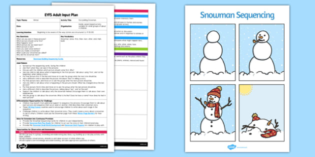 EYFS Storytelling Snowman Adult Input Plan and Resource Pack - EYFS, Early Years planning, adult led, winter, snow, weather
