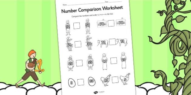 Jack and the Beanstalk Number Comparison Worksheets - number