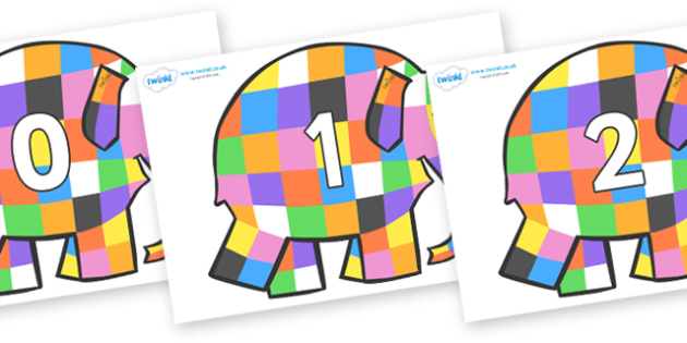 Numbers 0-50 on Elmer to Support Teaching on Elmer - 0-50, foundation stage numeracy, Number recognition, Number flashcards, counting, number frieze, Display numbers, number posters