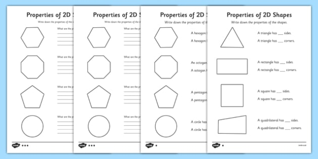 Free Worksheets 2d and 3d shapes worksheets for grade 3 : Year 2 Properties Of 2D Shapes Activity Sheet Pack - activity