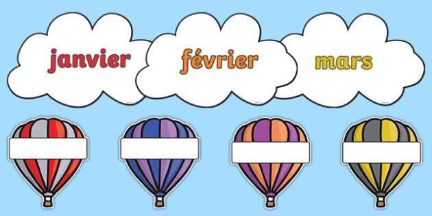 Editable Hot Air Balloon Birthday Display Balloons French - french, birthday, birthday display, editable birthday display, classroom display, classroom management, hot air balloon