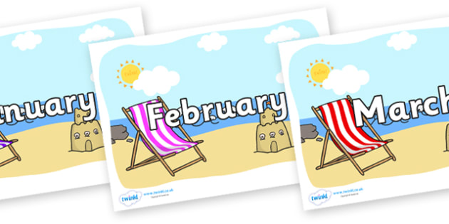 Months of the Year on Seasides - Months of the Year, Months poster, Months display, display, poster, frieze, Months, month, January, February, March, April, May, June, July, August, September