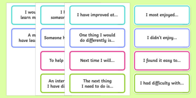 Reflecting on Learning Discussion Prompt Word Cards-Australia