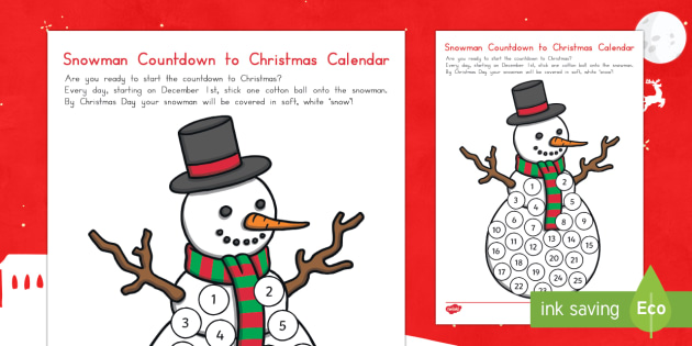 Snowman Countdown to Christmas Calendar Craft