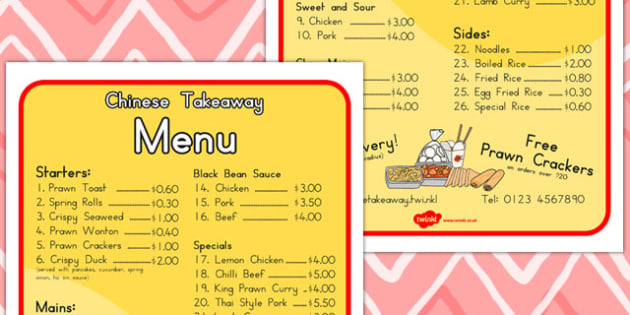 Chinese Takeaway Role Play Menu - food, takeaways, lists, foods