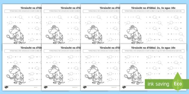 Bileog Oibre: Toraíocht na dTáblaí, Uimhreacha ar Iarraidh -  bileog oibre, toraíocht na dtáblaí, uimhreacha ar iarraidh, mata, maths, tables, táblaí, count