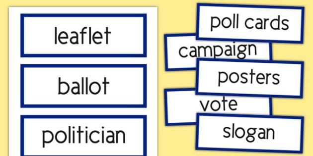 Scottish Elections 2016 Vocabulary Cards - CfE, Scotland, politics, government, parliament, elections, voting