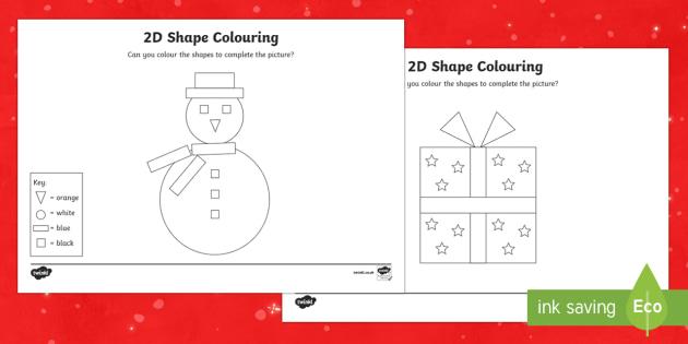 Christmas Colour by 2D Shape Activity Sheets