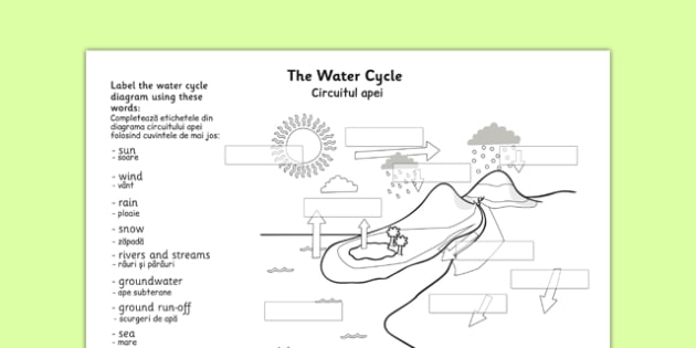 Water Cycle Labelling Worksheet Romanian Translation - romanian