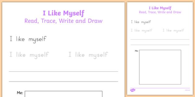 I Like Myself Read, Trace, Write and Draw - usa, america, i like myself, all about me, read, trace, write, draw, activity