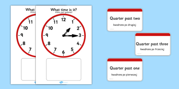 Analogue Clocks Quarter Past Matching Polish Translation - polish, Clock time matching game, Time, Time resource, Time vocabulary, clock face, O'clock, half past, quarter past, quarter to, shapes spaces measures, clock game, time game, foundation sta