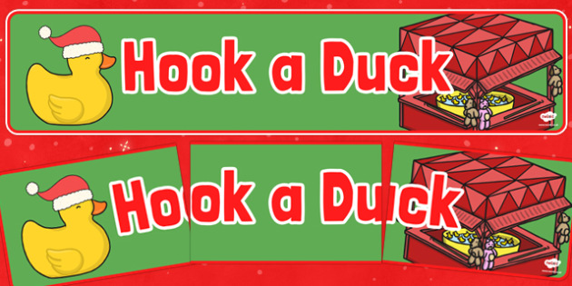 Christmas Themed Hook a Duck Banner - christmas fair, display banner, display, banner, hook a duck