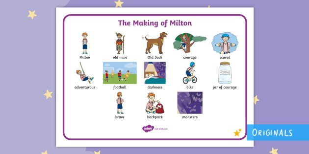 The Making of Milton Word Mat - Twinkl originals, fiction, story, vocabulary, display