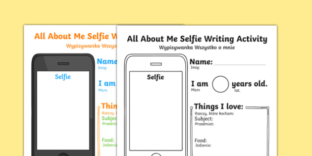 All About Me Selfie Writing Activity Sheet Polish Translation - polish, photo, selfie, mobile, transition, getting to know you, new class, beginning of year, iphone, worksheet
