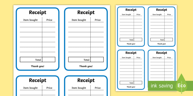 Role Play Receipts (General) - Role Play, receipt, role play area, shop, shops, shop receipt, play receipt