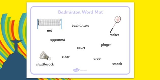 Rio 2016 Olympics Badminton Word Mat - rio 2016, rio olympics, 2016 olympics, badminton, word mat, word, mat