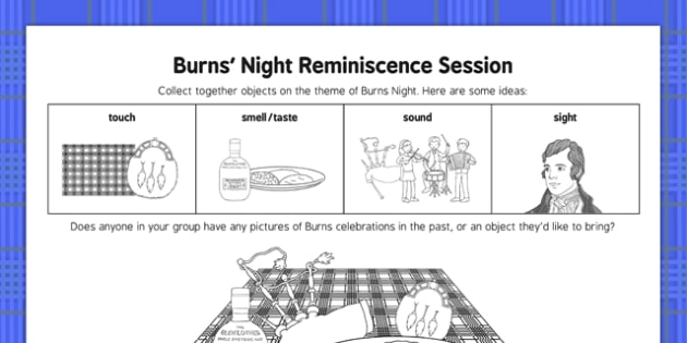 Burns Night Reminiscence Session - Elderly, Reminiscence, Care Homes, Burns' Night