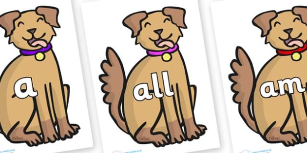Foundation Stage 2 Keywords on Dog - FS2, CLL, keywords, Communication language and literacy,  Display, Key words, high frequency words, foundation stage literacy, DfES Letters and Sounds, Letters and Sounds, spelling