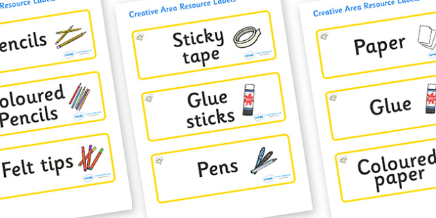 Topaz Themed Editable Creative Area Resource Labels - Themed creative resource labels, Label template, Resource Label, Name Labels, Editable Labels, Drawer Labels, KS1 Labels, Foundation Labels, Foundation Stage Labels