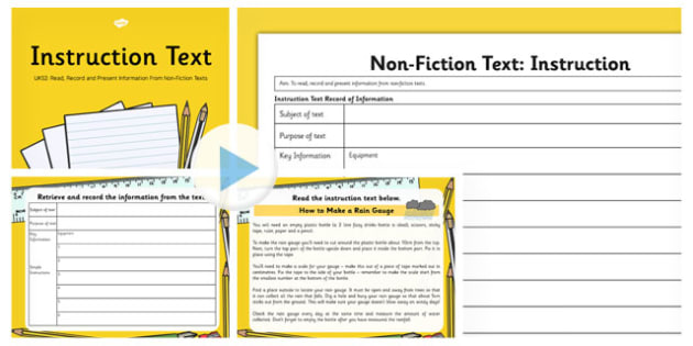 Instruction Text Read Record and Present Information UKS2 Lesson Pack