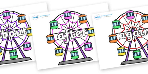 KS1 Keywords on Ferris Wheels - KS1, CLL, Communication language and literacy, Display, Key words, high frequency words, foundation stage literacy, DfES Letters and Sounds, Letters and Sounds, spelling