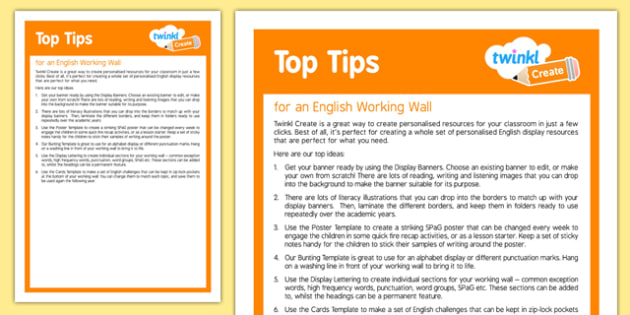 Using Twinkl Create for an English Working Wall  Top Tips
