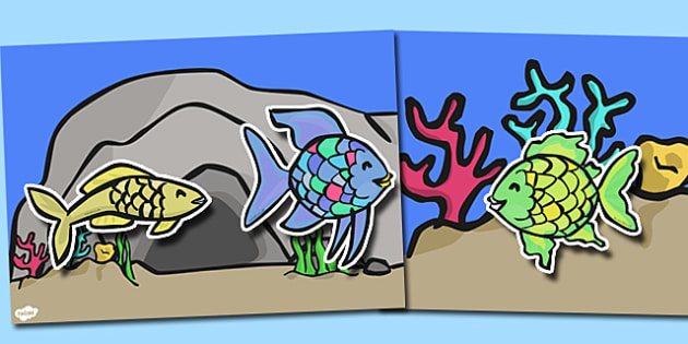 Story Cut Outs to Support Teaching on The Rainbow Fish - The Rainbow Fish, Marcus Pfister, resources, Rainbow Fish, PSHE, PSE, octopus, shimmering scales, starfish, friendship, under the sea, sea, story, story book, story book resources, story sequen