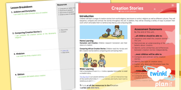 RE: Creation Stories Year 6 Unit Overview